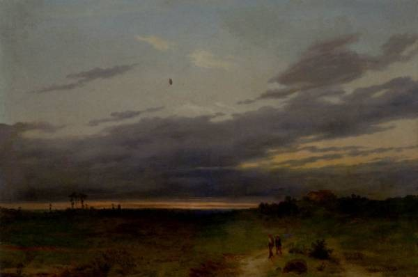 Sunset Landscape With Two Figures On A Track